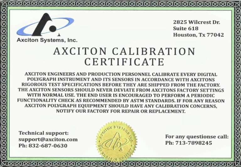 Сертификат калибровки Axction calibrate certificate