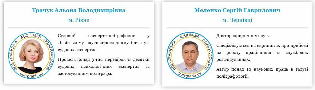 Приклад відображення інформації про поліграфологів